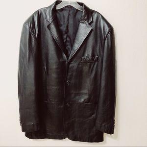 Alfani Positano Black Leather Sport Coat Blazer